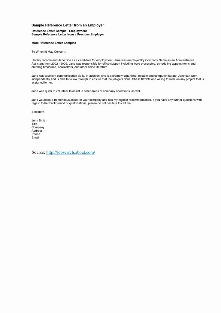Reference Letters From Employer Beautiful Reference Letter Template Best Templatepersonal