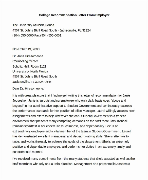 Reference Letters From Employer Best Of Free 8 Sample Letters Of Re Mendation for Employment