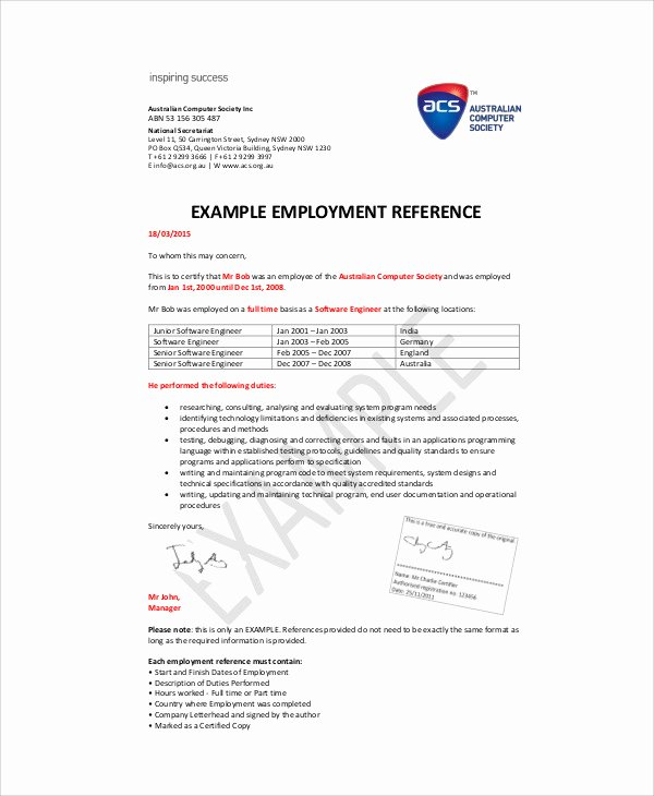 Reference Letters From Employer Best Of Sample Re Mendation Letter From Employer 6 Examples