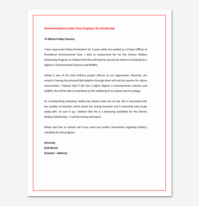Reference Letters From Employer Elegant Re Mendation Letter for Graduate School From Employer