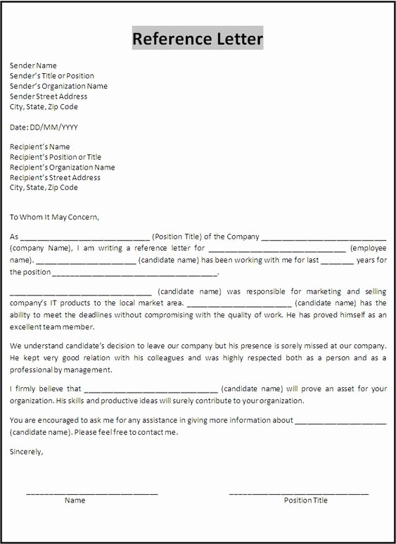 Reference Letters From Employers Inspirational Letter Of Re Mendation for A Job From Previous Employer
