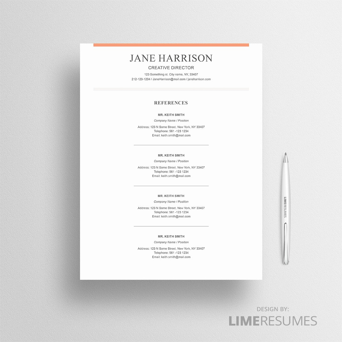 Reference Page for Resume Template Awesome Cv Template for Microsoft Word Professional Cv Template