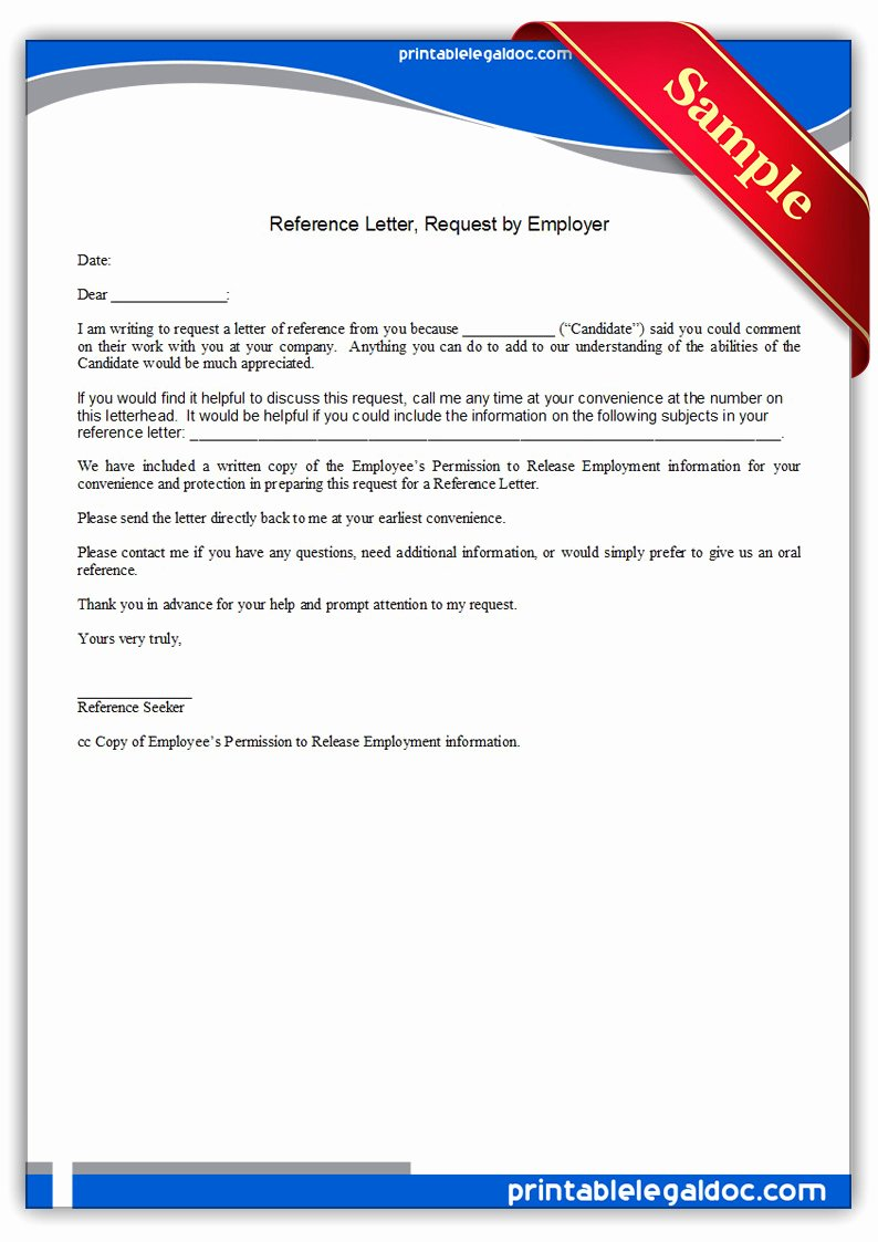References Letter From Employer Awesome Free Printable Reference Letter Request by Employer form