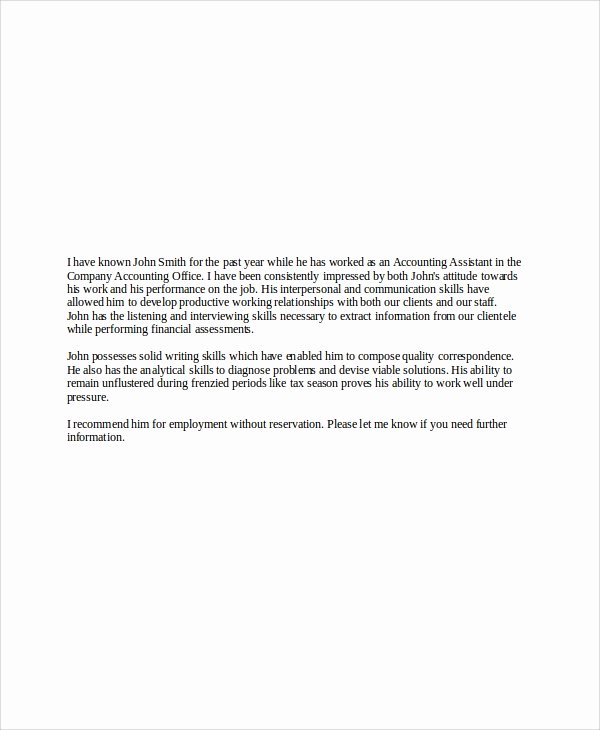 References Letter From Employer Luxury 6 Sample Employer Re Mendation Letter Free Sample