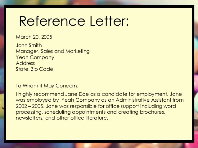 References Letter From Employer New Short Informative and to the Point