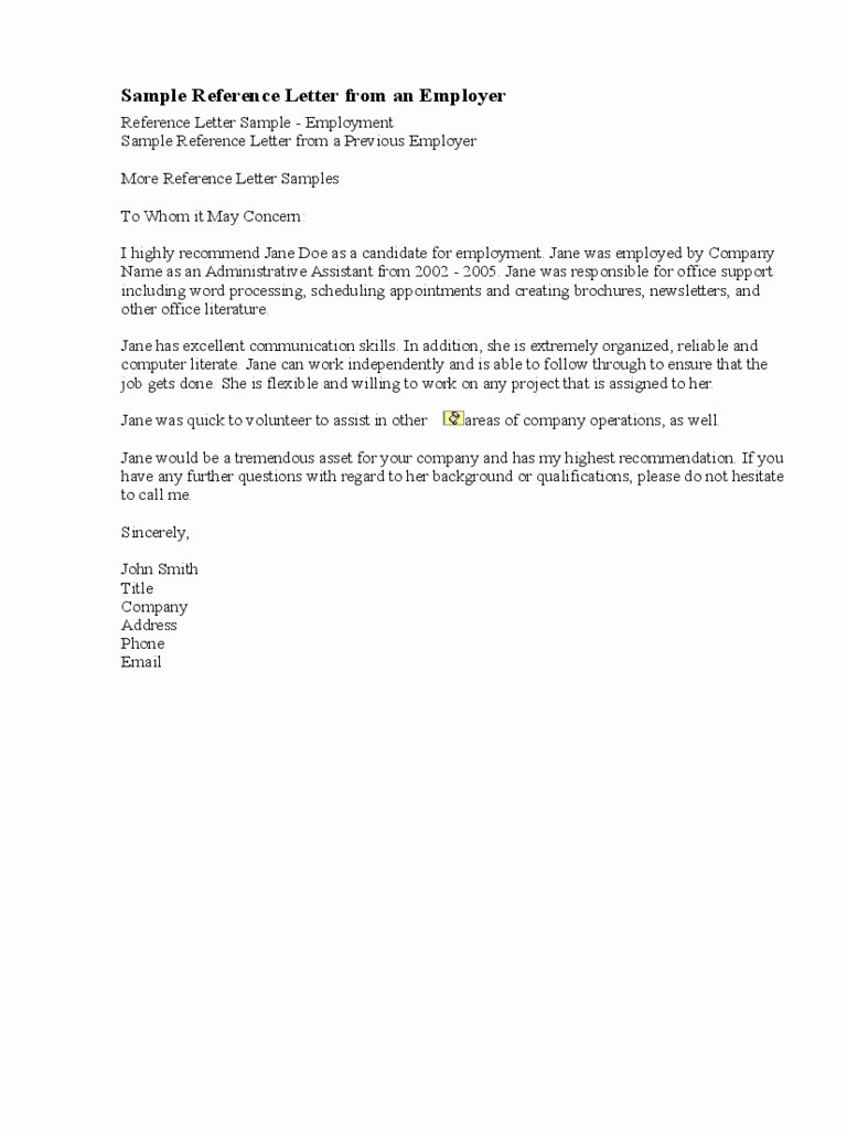 References Letter From Employer Unique 9 Reference Letter for Employment Examples Pdf