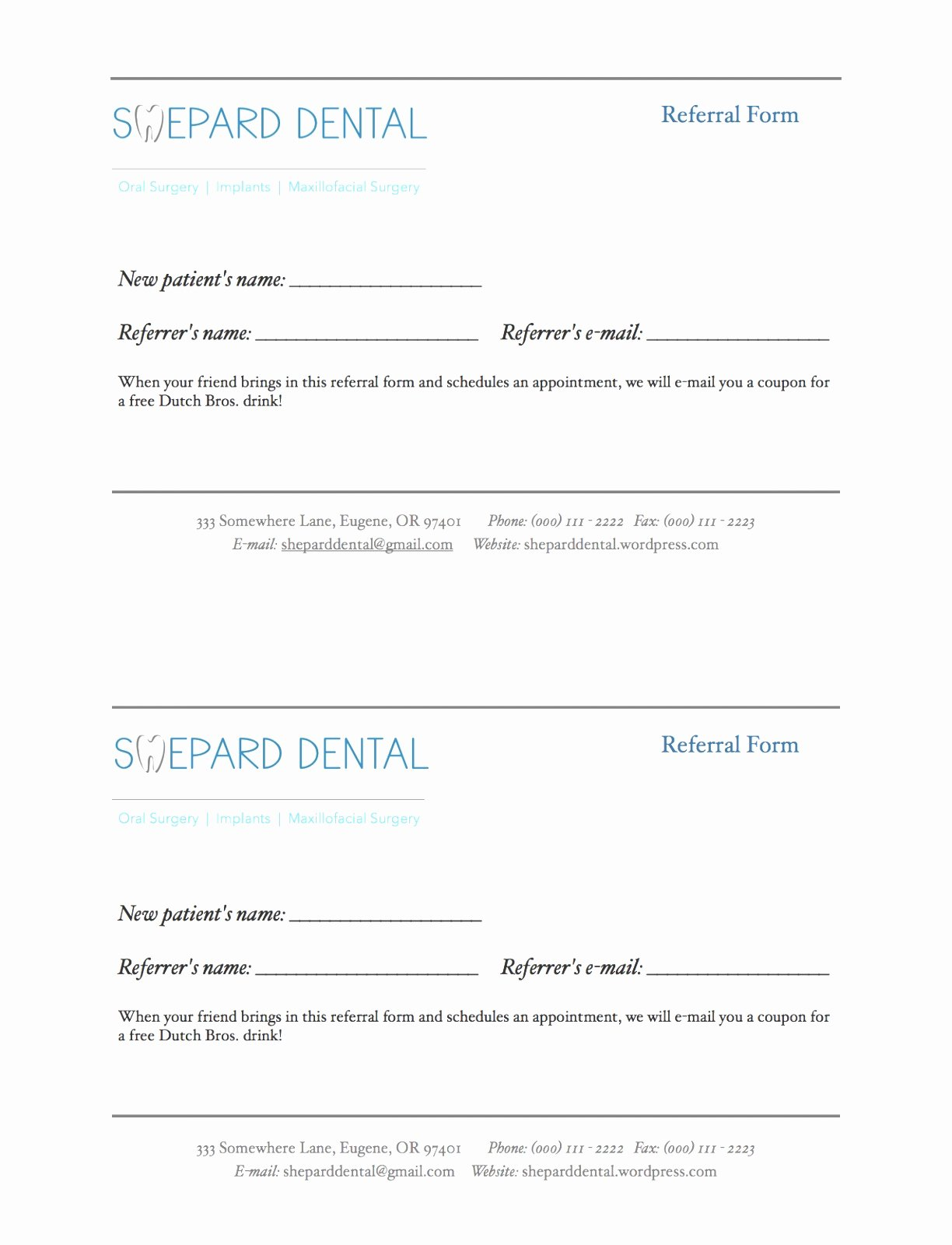 Referral form Template Word Best Of 10 Dental Referral form Template Lotuu