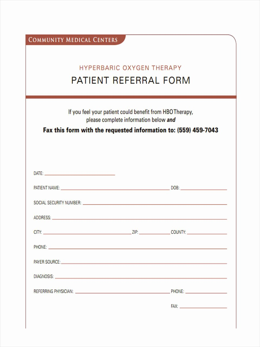 Referral form Template Word Unique Free 7 Medical Referral forms In Samples Examples formats