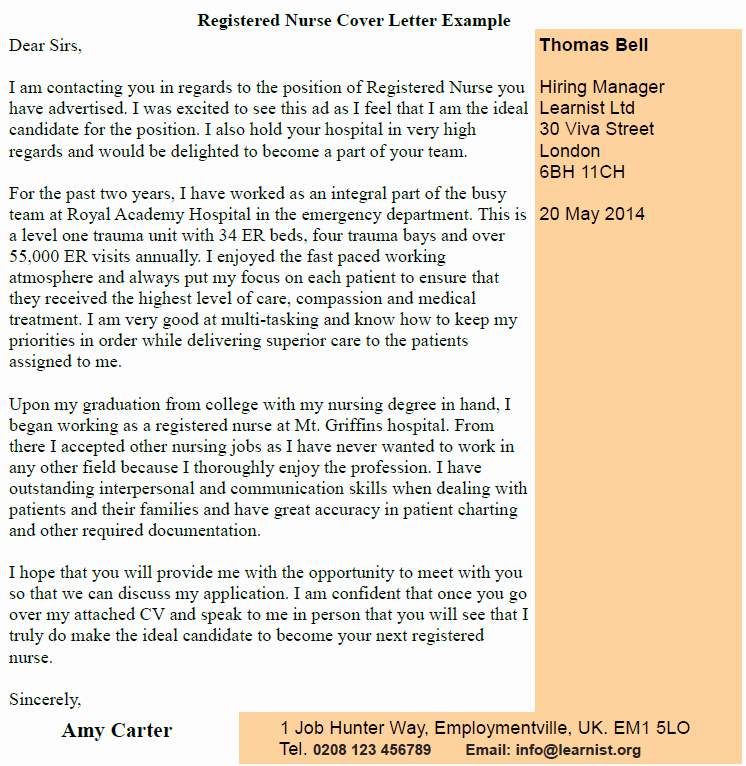 Registered Nurse Cover Letter Example Beautiful Covering Letters Page 5 Of 37 Learnist