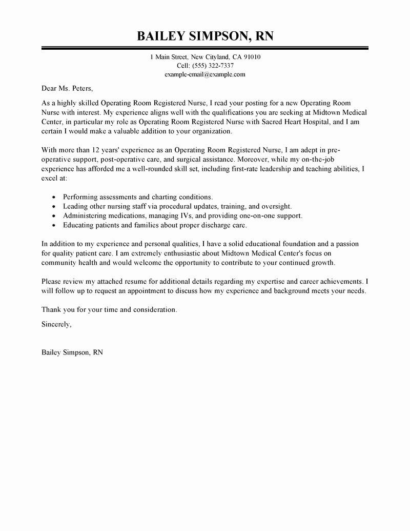 Registered Nurse Cover Letter Example New Best Operating Room Registered Nurse Cover Letter Examples