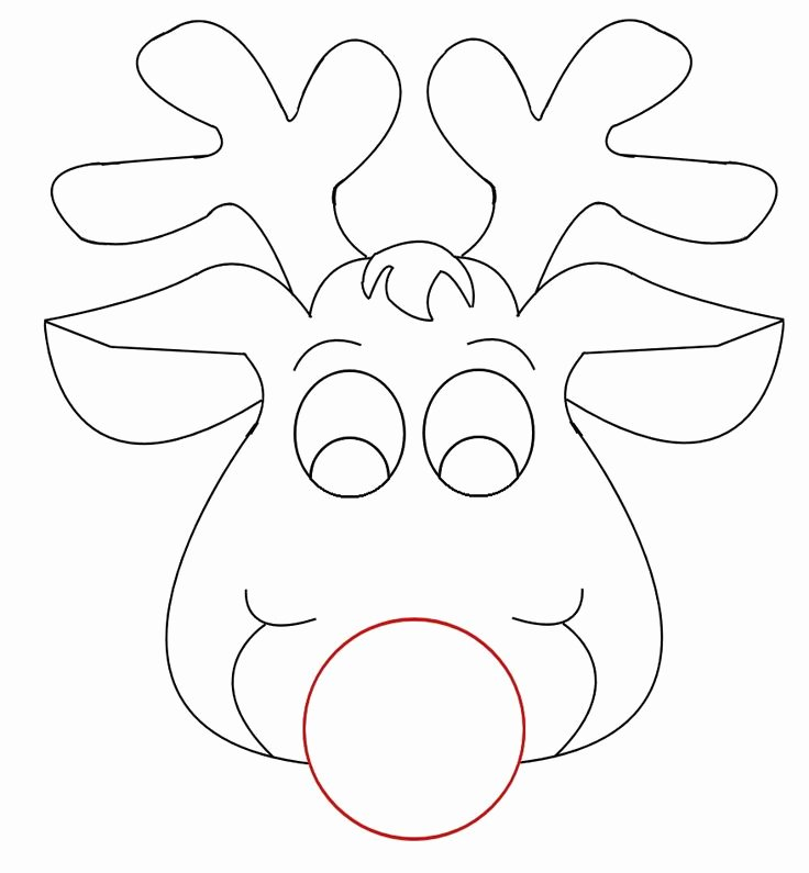 Reindeer Cut Out Pattern Lovely Rudolph Reindeer Face Craft for Coloring