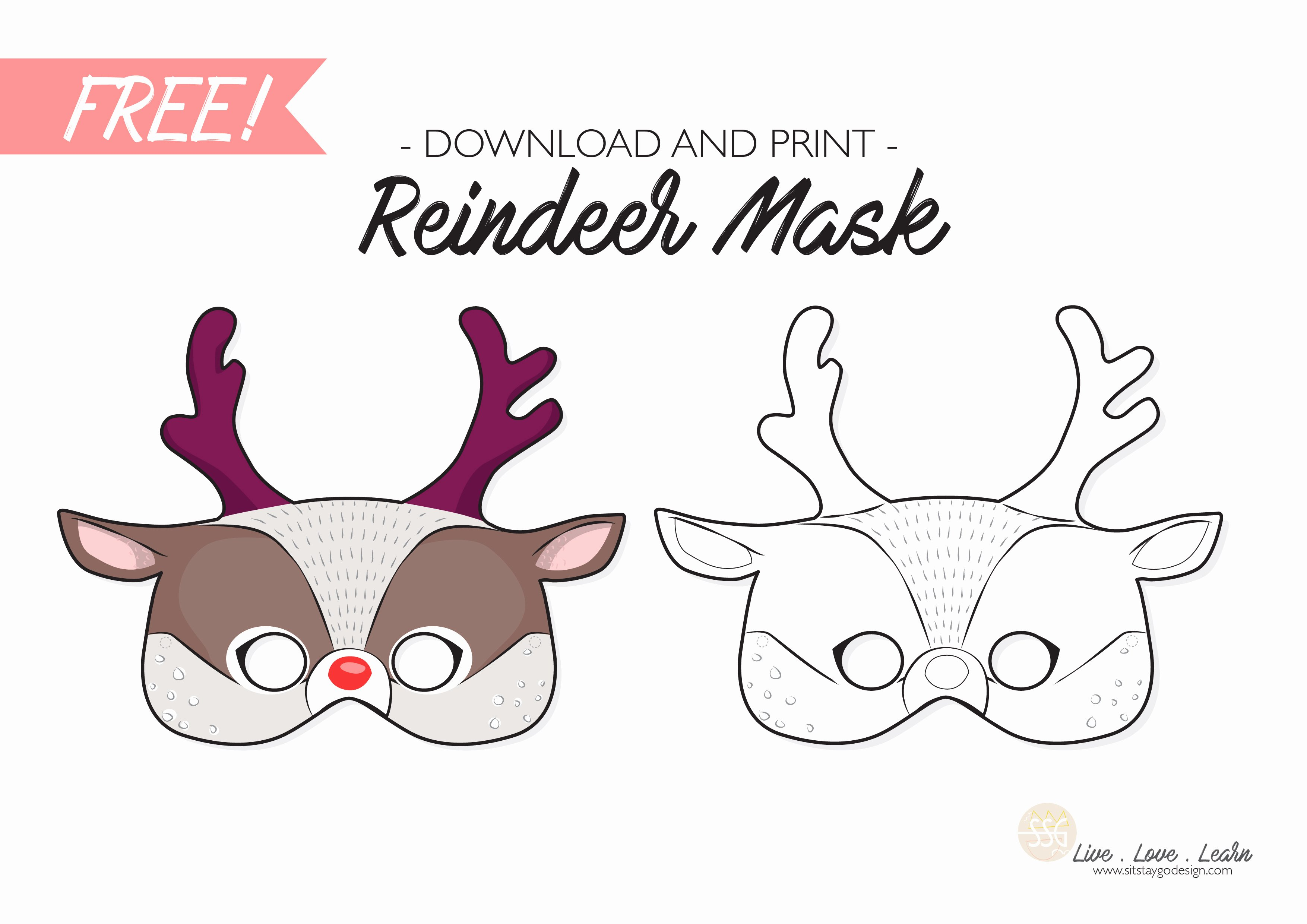 Reindeer Template Cut Out Beautiful Sit Stay Go Free Reindeer Mask Printable Sit Stay Go