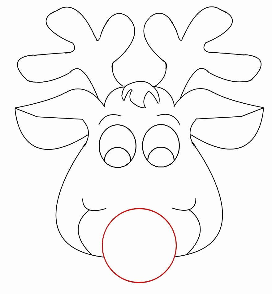 Reindeer Template Cut Out Fresh Rudolph Reindeer Face Craft for Coloring