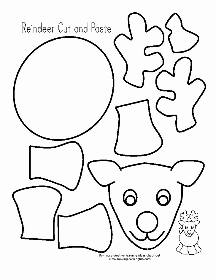 Reindeer Template Cut Out New Reindeer Printable Cut Out Google Search