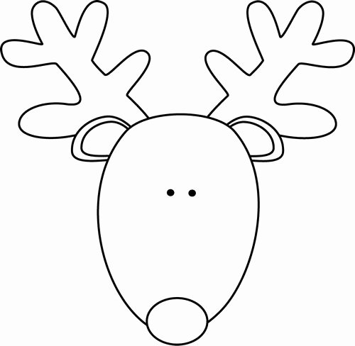 Reindeer Template Cut Out Unique Clip Art Black and White