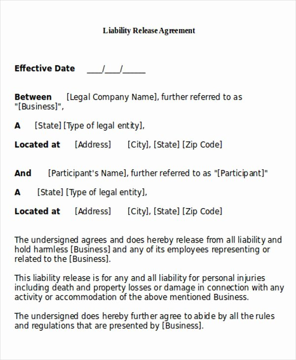 Release Of Liability Example Elegant General Release Of Liability form Sample 7 Examples In