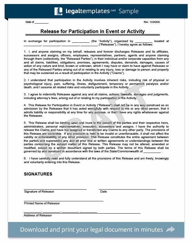 Release Of Liability Example Lovely Free Release Of Liability form
