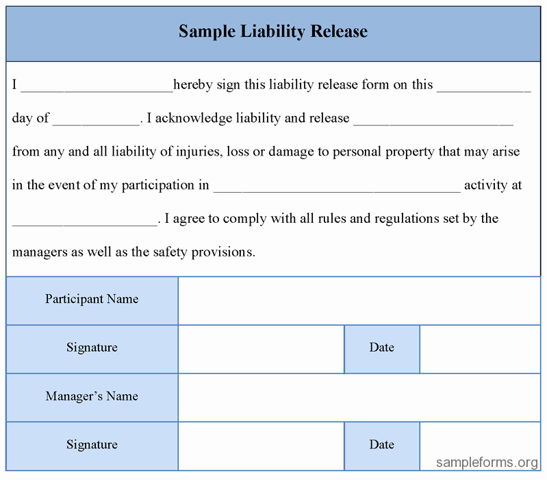 Release Of Liability Example Luxury Free Printable Liability Release form Sample form Generic