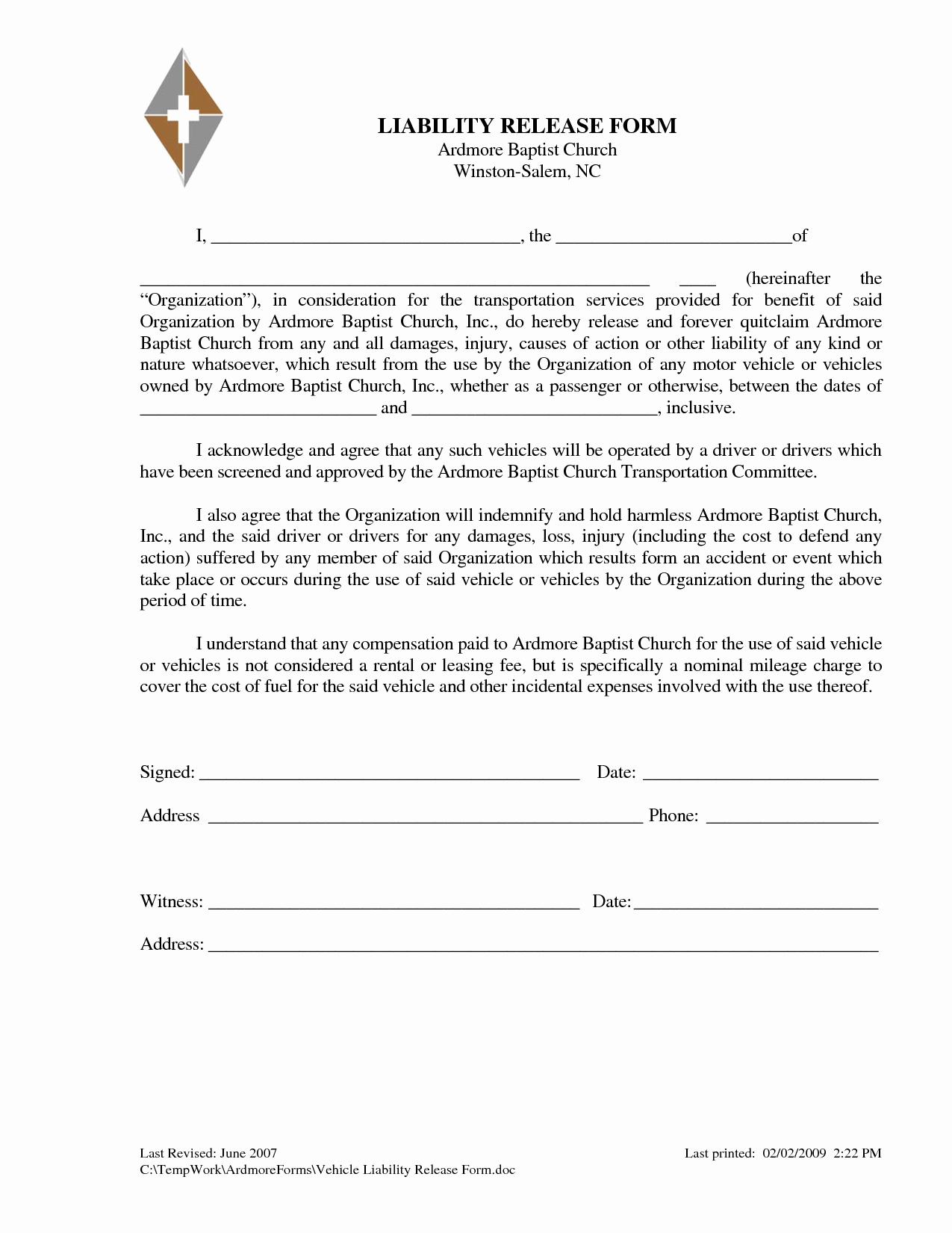 Release Of Responsibility Letter Best Of Liability Release Letter Free Printable Documents