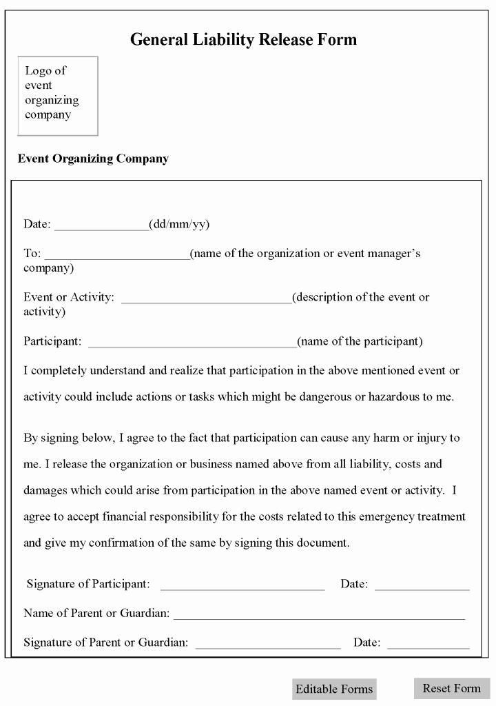 Release Of Responsibility Letter Fresh Free Printable Liability Waiver Sample form Generic