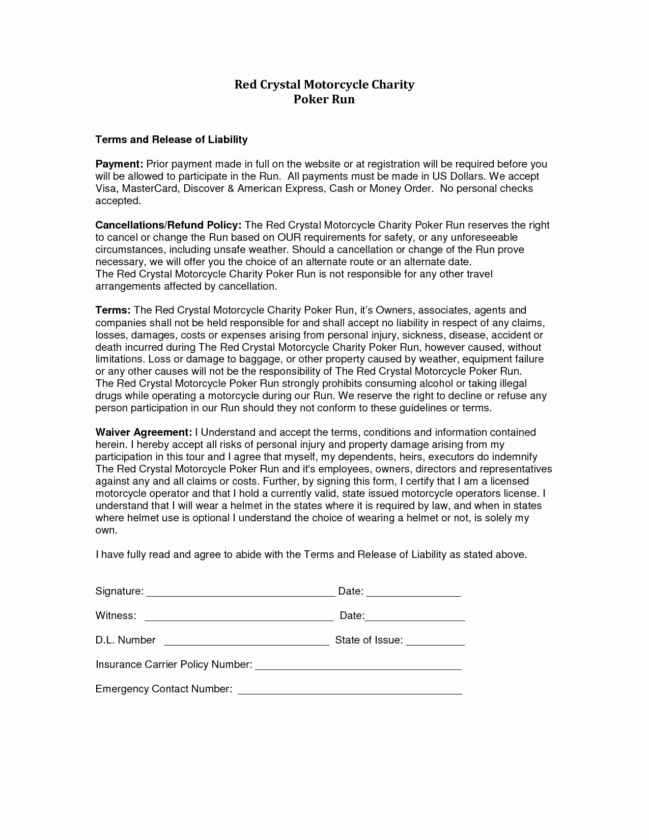 Release Of Responsibility Letter Fresh Release Liability Sample Free Printable Documents