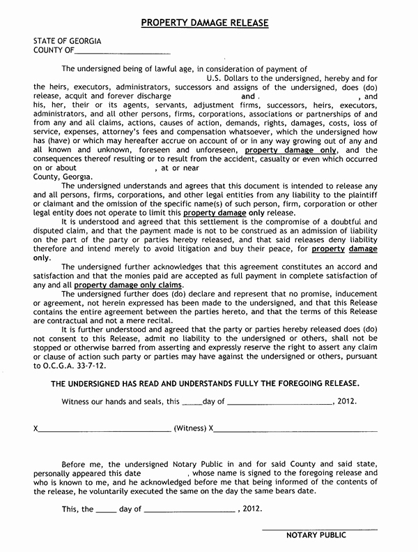 Release Of Responsibility Letter Fresh Release Of Liability Property Damage