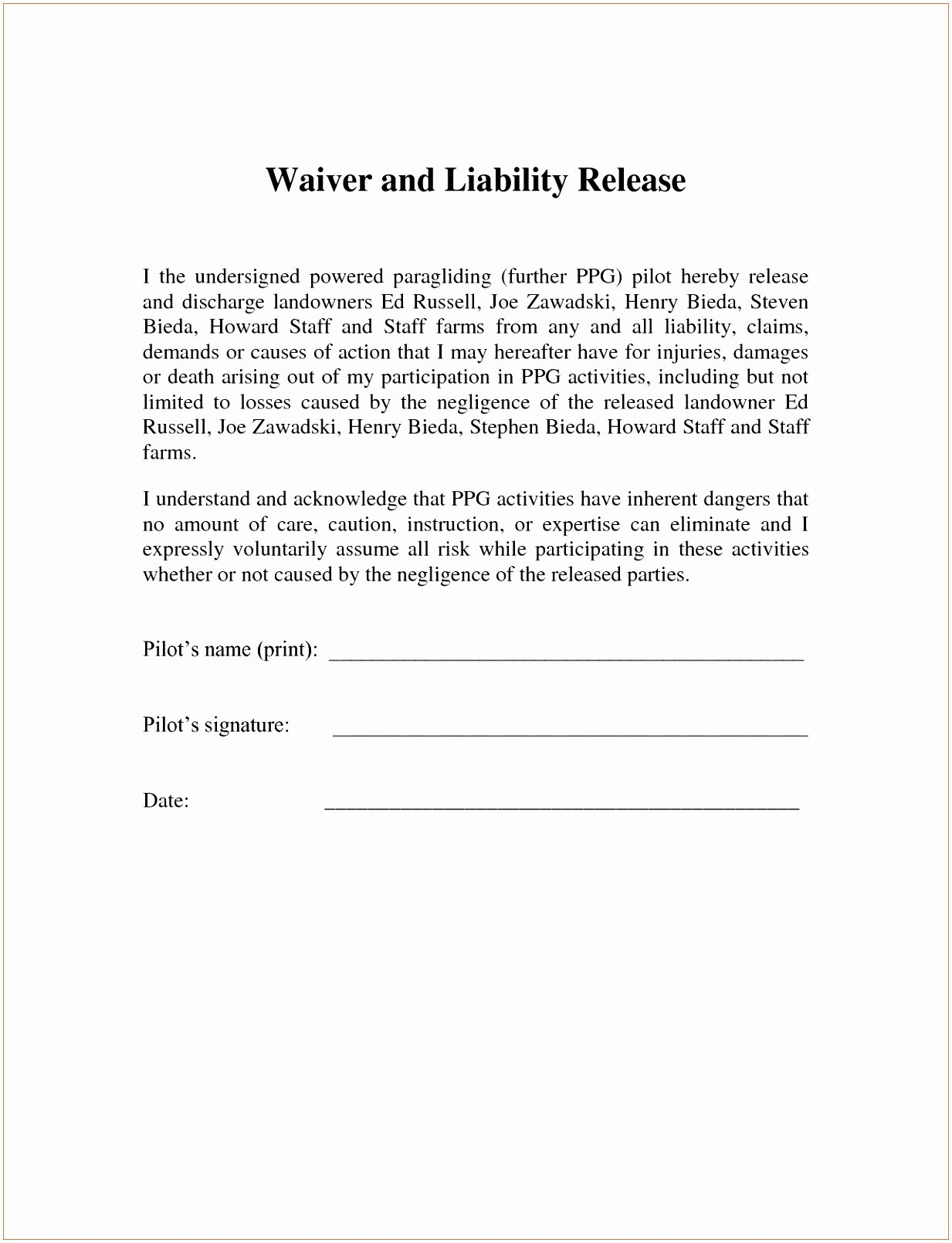Release Of Responsibility Letter Inspirational 6 Fitness Waiver and Release form Template Ueeur