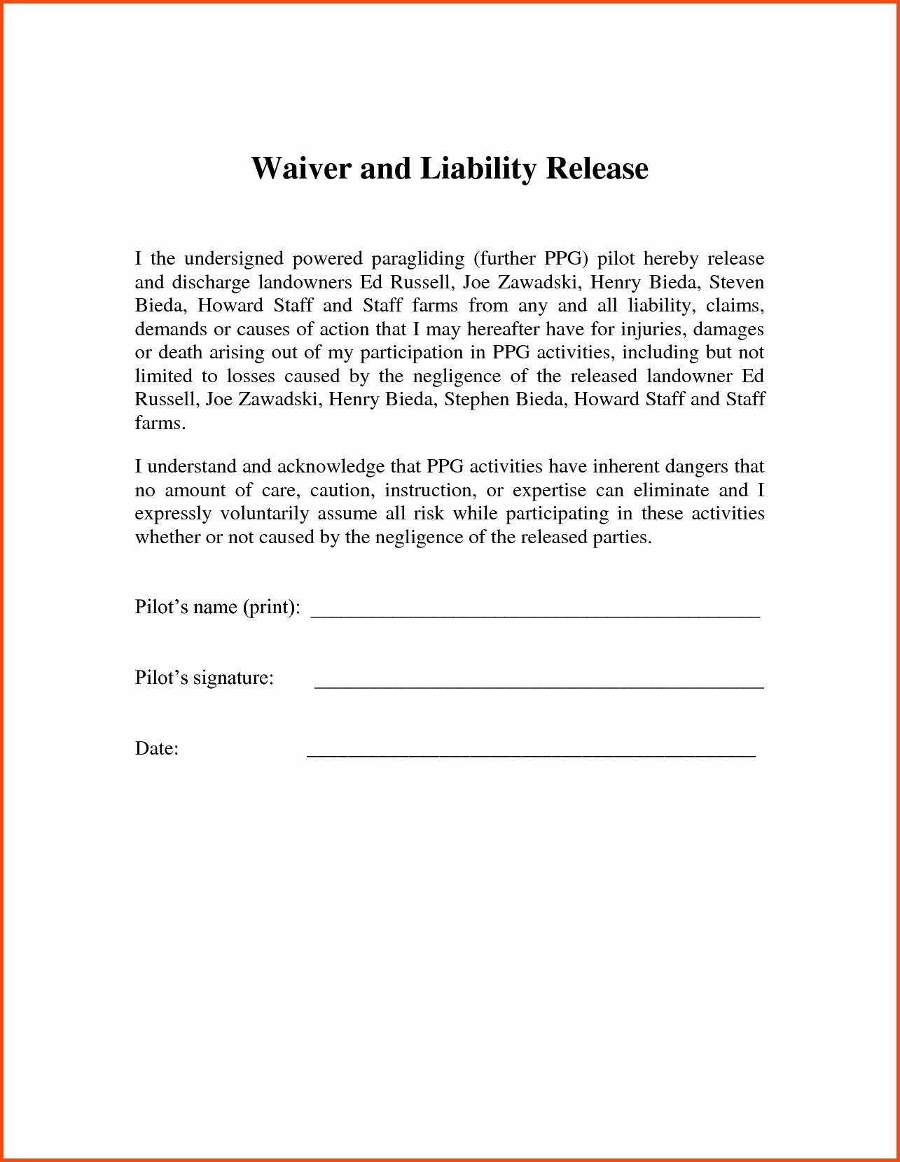 Release Of Responsibility Letter Inspirational Release Liability Letter Template Examples