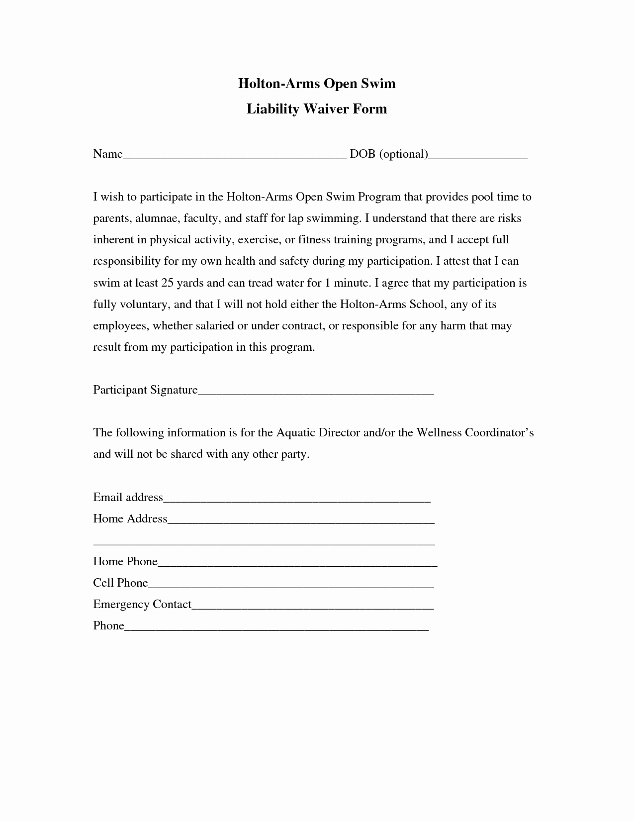 Release Of Responsibility Letter Lovely Liability Insurance Liability Insurance Waiver Template