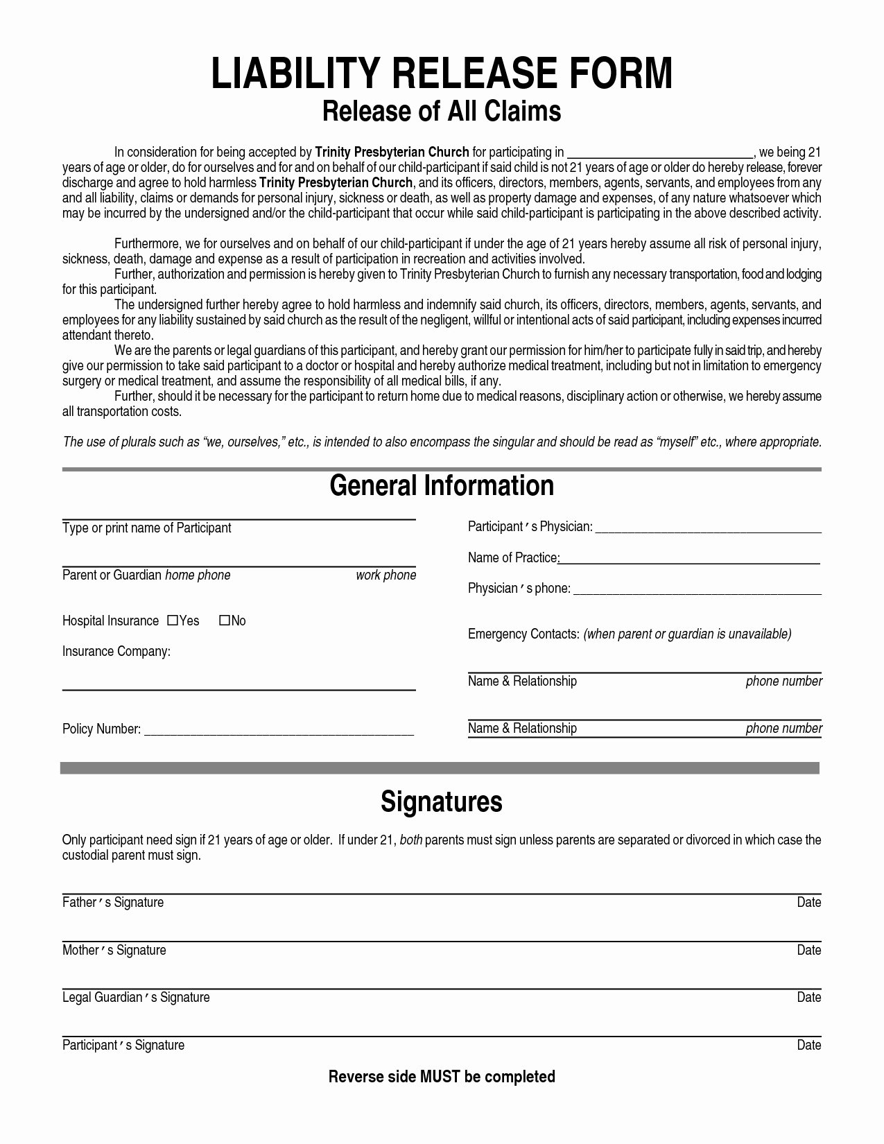 Release Of Responsibility Letter New Free Printable Liability form form Generic