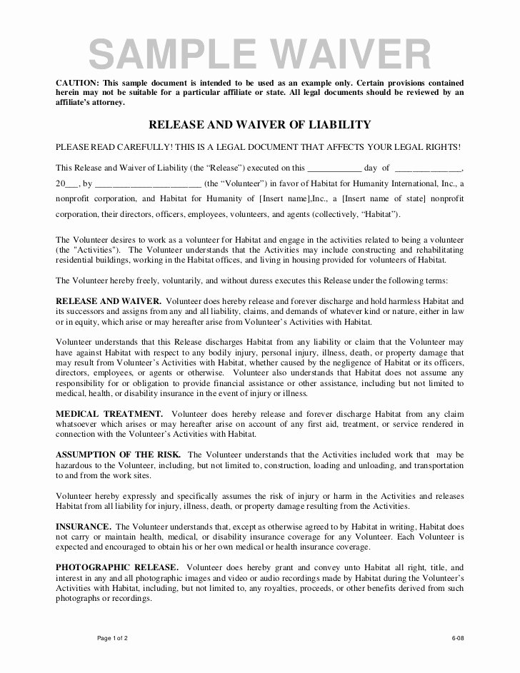 Release Of Responsibility Letter New Volunteer Release and Waiver Template