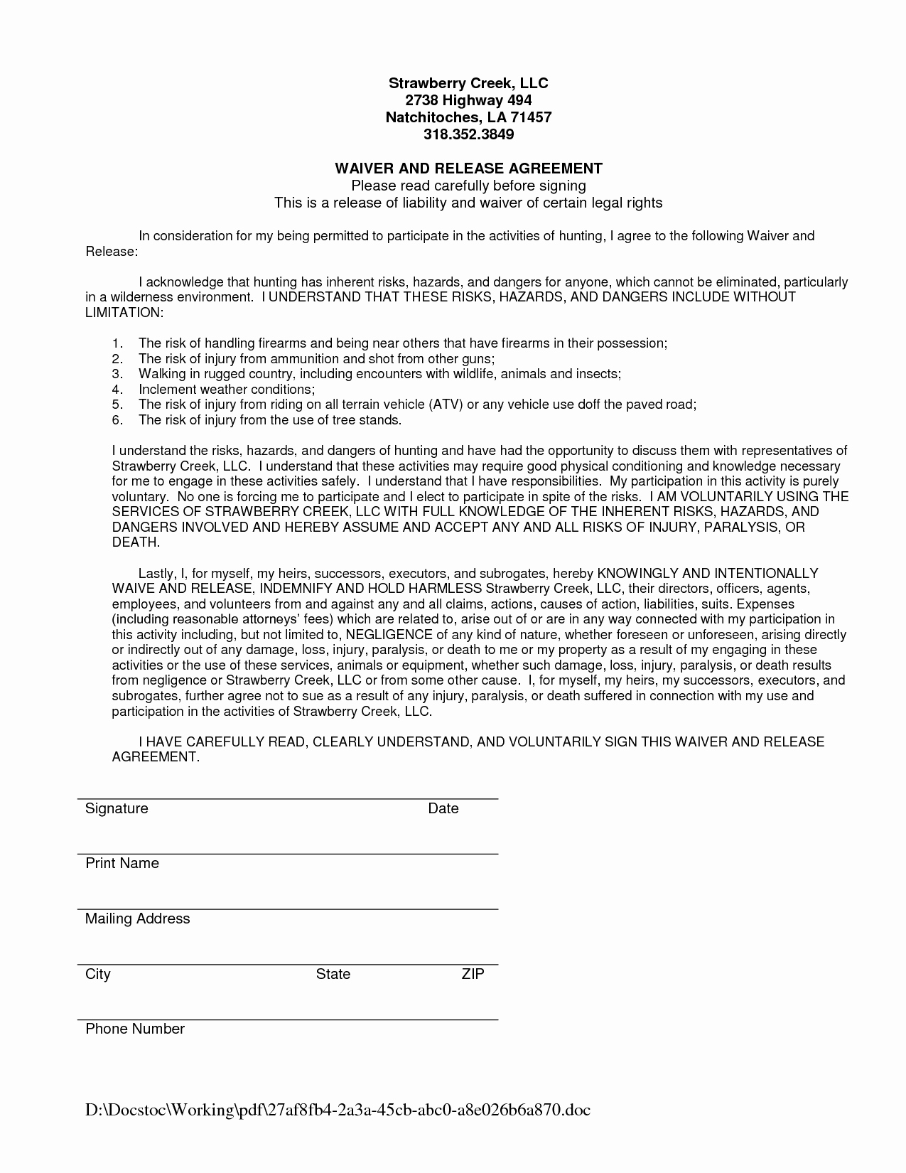 Release Of Responsibility Letter New Waiver and Release Liability form Sample Swifter
