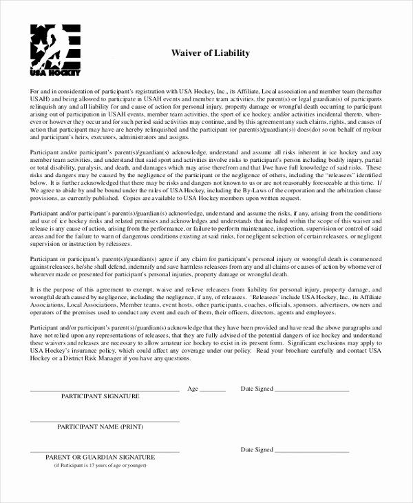 Release Of Responsibility Waiver Beautiful Free 10 Sample Waiver Of Liability forms In Pdf