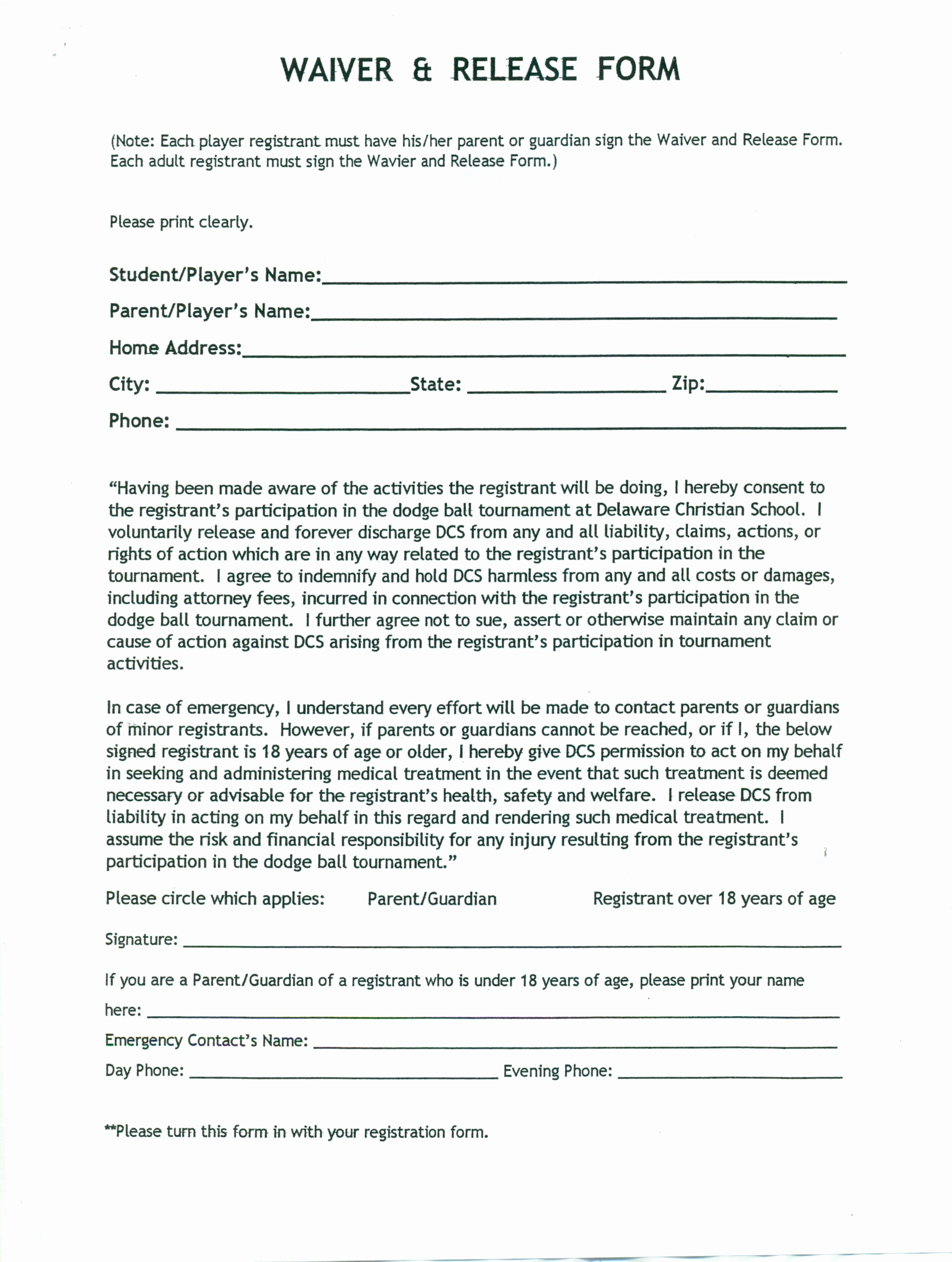 Release Of Responsibility Waiver Fresh Release Waiver Template Free Printable Documents