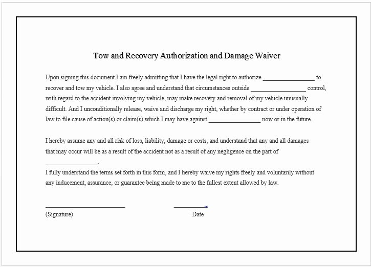 Release Of Responsibility Waiver Fresh towing Pany Business Damage Waiver
