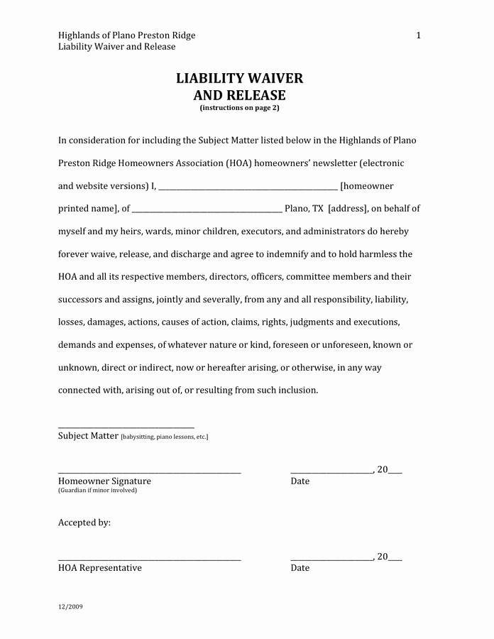 Release Of Responsibility Waiver Inspirational Liability Waiver and Release In Word and Pdf formats