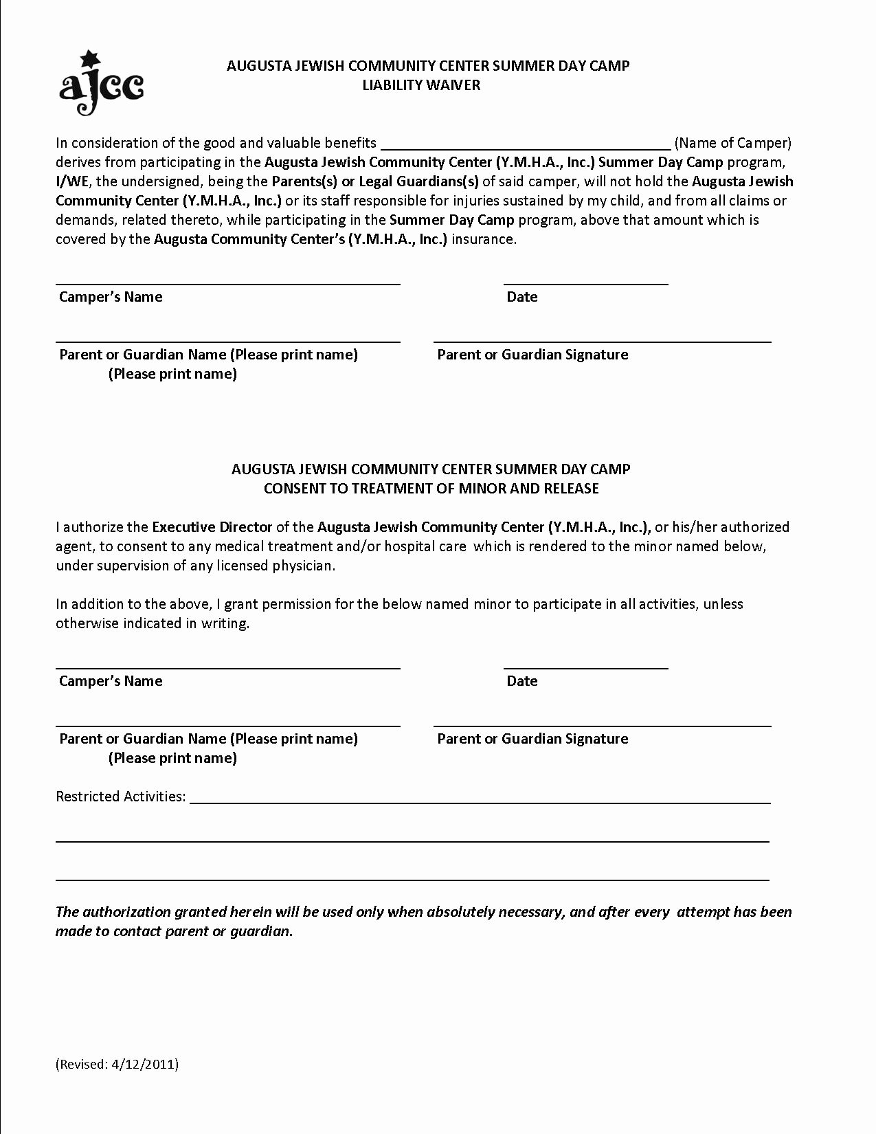 Release Of Responsibility Waiver Lovely Free Printable Liability form form Generic