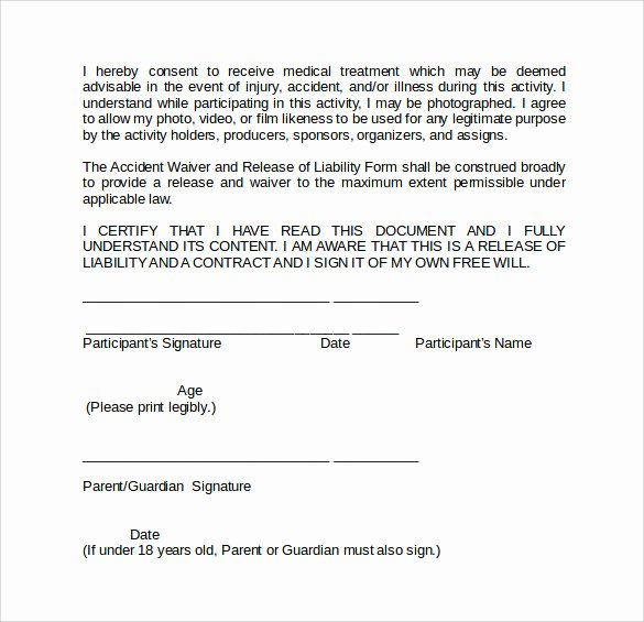 Release Of Responsibility Waiver New Sample Liability Waiver form 9 Download Free Documents