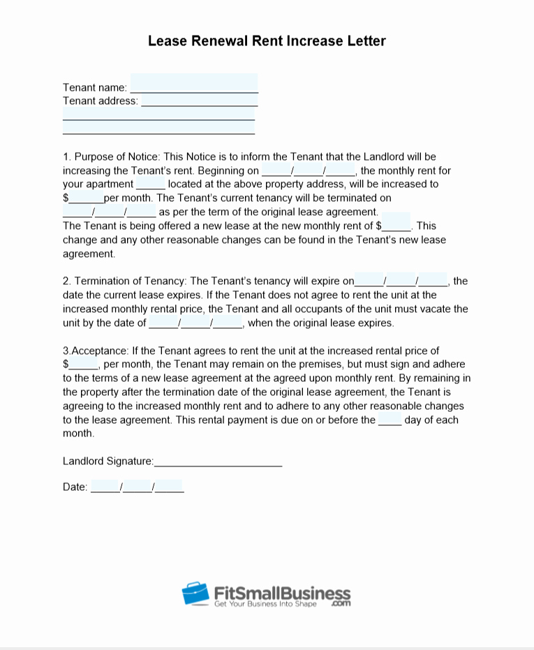 Rent Free Letter Template Lovely Sample Rent Increase Letter [ Free Templates]