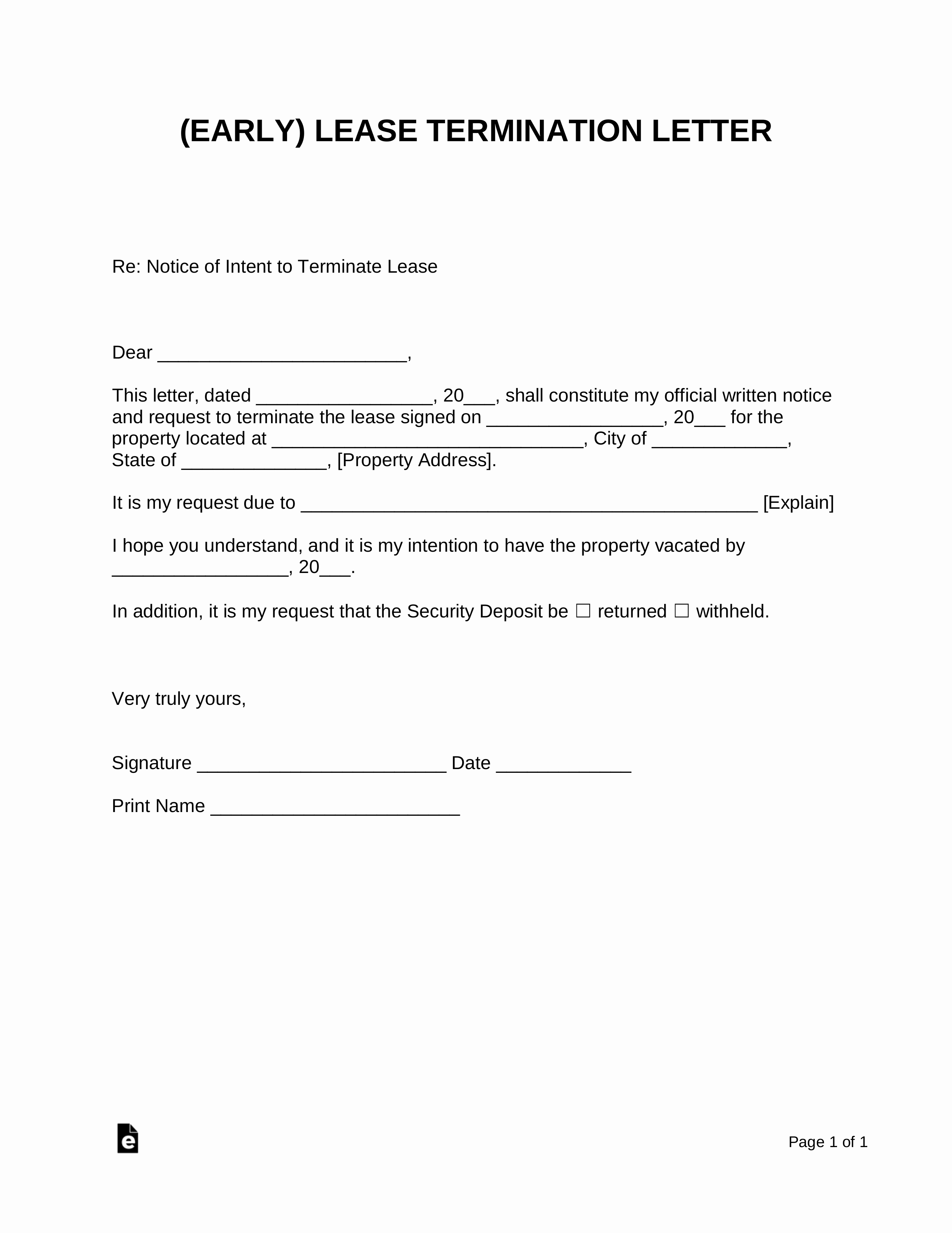 Rent Free Letter Template Unique Early Lease Termination Letter Landlord Tenant