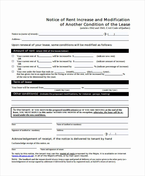 Rent Increase form Awesome 35 Notice form Examples