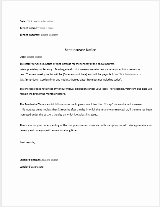 Rent Increase form Elegant Rent Increase Notification Letter Template Rent Increase