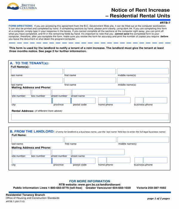 Rent Increase form Fresh 8 Notice Of Rent Increase forms Pdf Doc