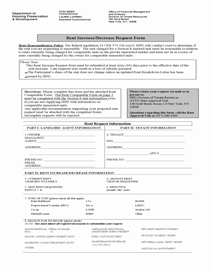 Rent Increase form Inspirational Rent Increase Decrease Request form New York Free Download