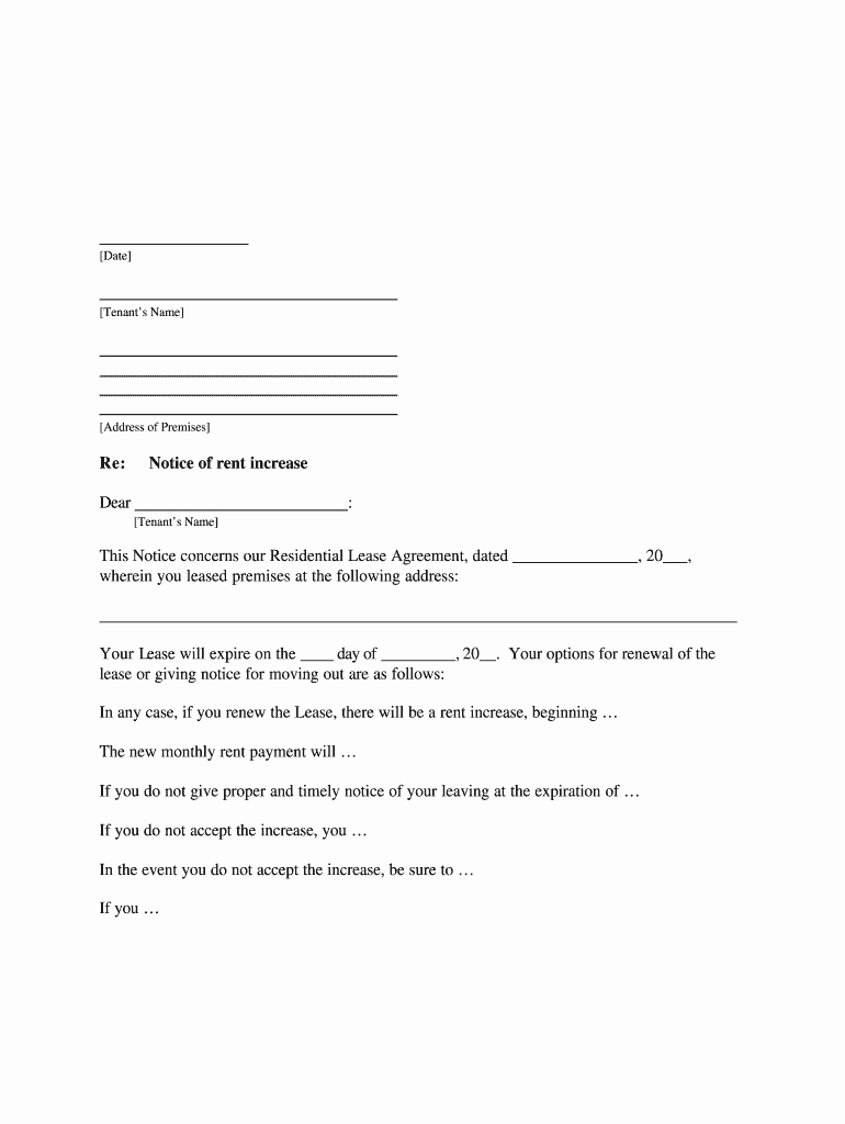 Rent Increase form Inspirational Rental Increase form Fill Line Printable Fillable