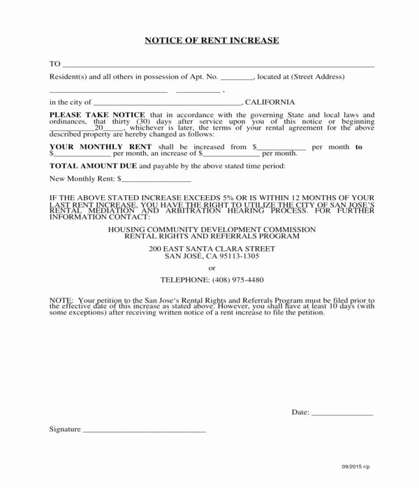 Rent Increase form New 8 Notice Of Rent Increase forms Pdf Doc