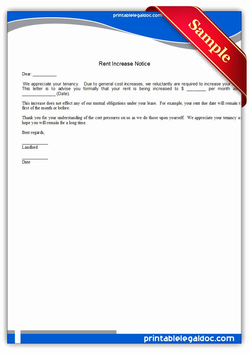 Rent Increase Notice Sample Best Of Free Printable Rent Increase Notice form Generic