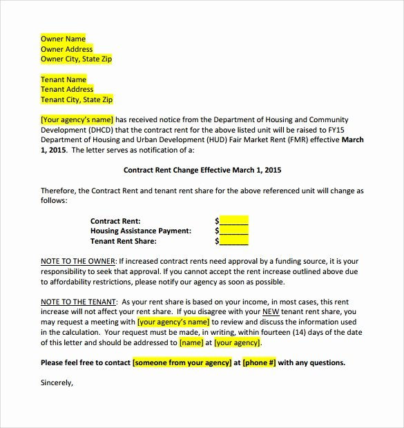 Rent Increase Notice Sample Luxury 9 Sample Rent Increase Letter Templates Pdf Word
