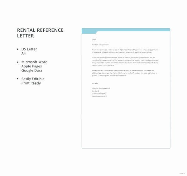 Rent Reference Letter Sample Awesome 10 Rental Reference Letter Templates Free Sample