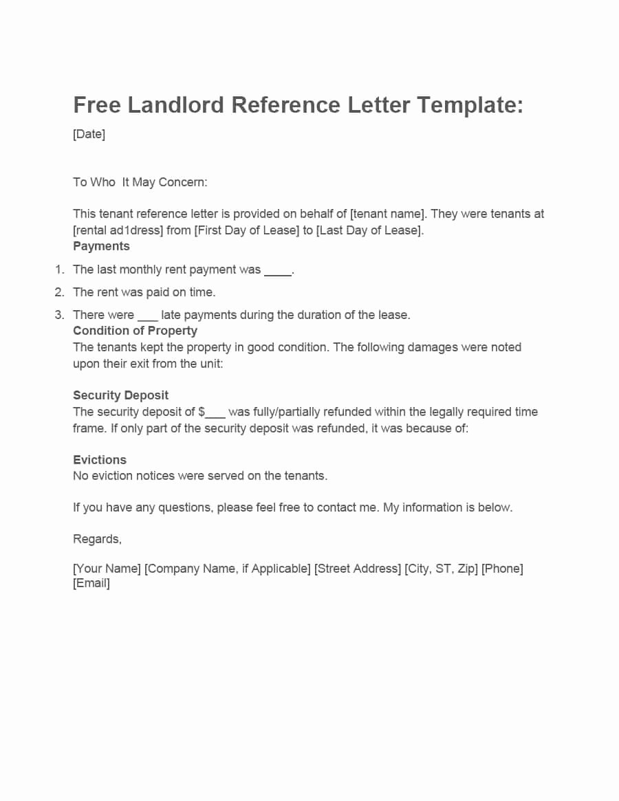Rent Reference Letter Sample Elegant 40 Landlord Reference Letters & form Samples Template Lab